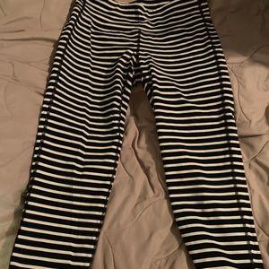 Black and white striped athleta capris